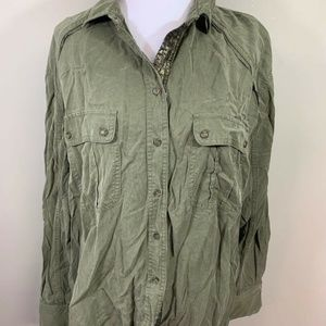 Free People Top Sz Medium Green Button Down Shirt